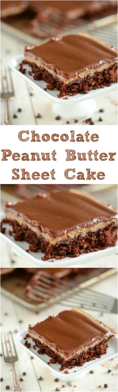 chocolate peanut butter sheet cake starts bowl moist