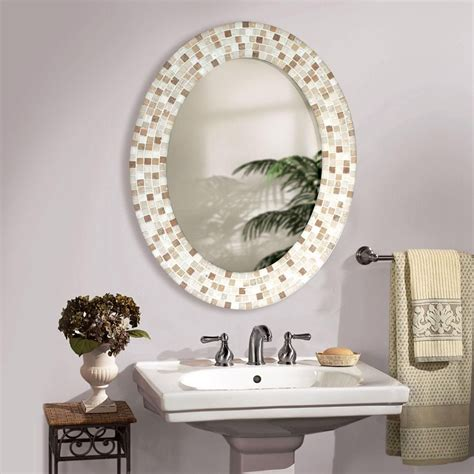 travertine mosaic oval bathroom mirror 2019 small bathroom