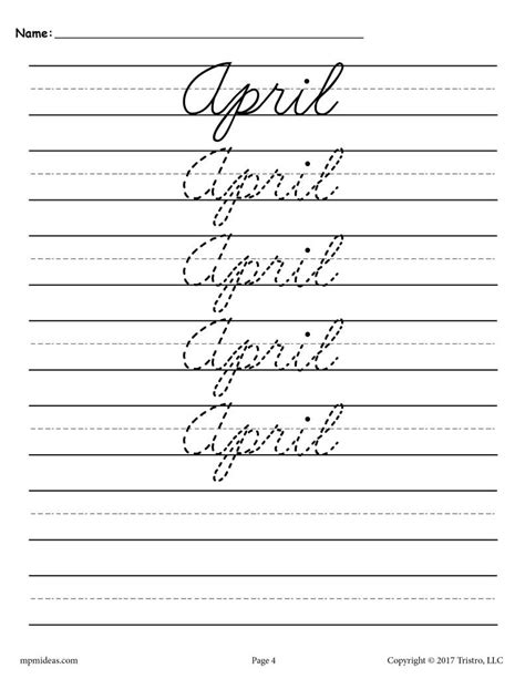 12 free cursive handwriting worksheets months year supplyme