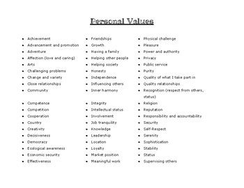 list personal values crafty counselor tpt