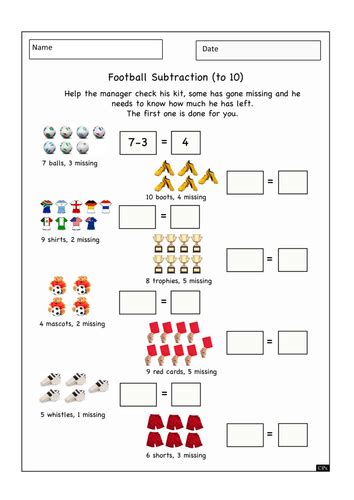 football themed numeracy worksheet teaching resources