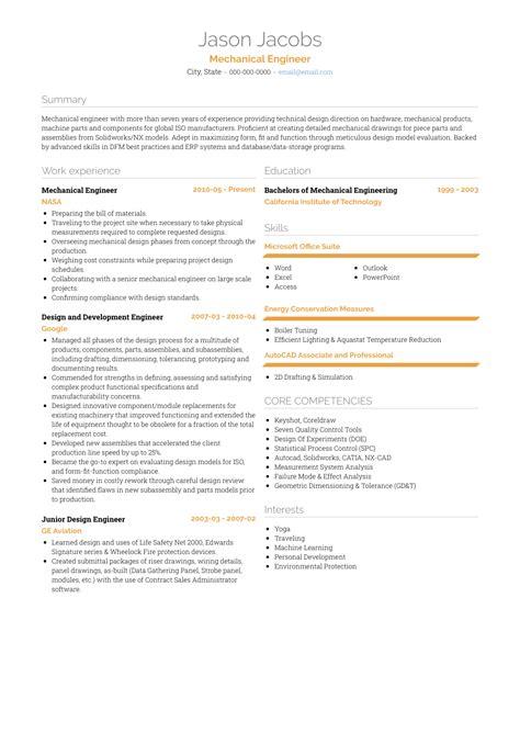 mechanical design engineer resume sles templates visualcv