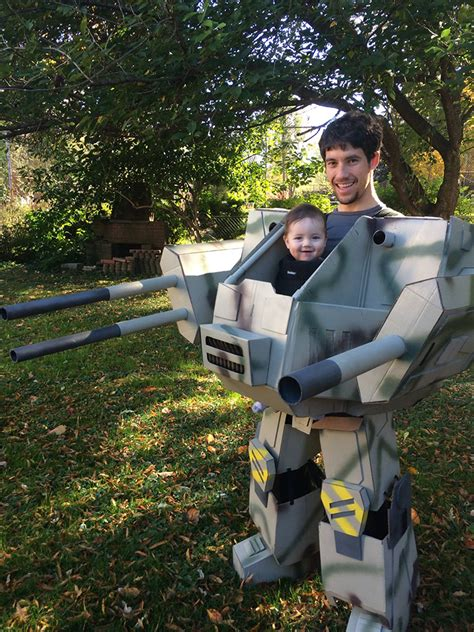 father builds life sized mechwarrior halloween costume month