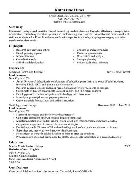 unforgettable lead educator resume exles stand myperfectresume