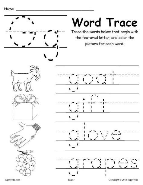 letter words free alphabet tracing worksheet supplyme