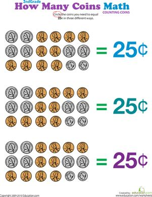 coins 25 cents worksheet education