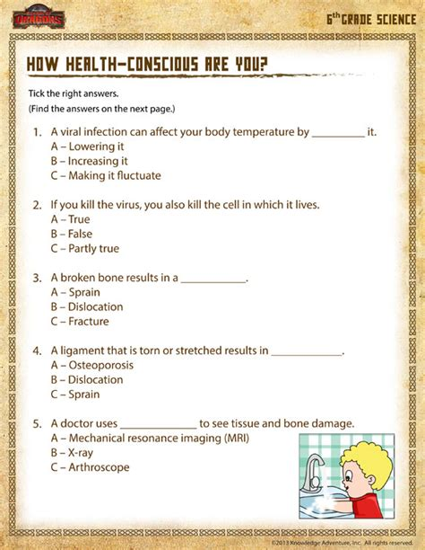 health conscious view 6th grade worksheets sod