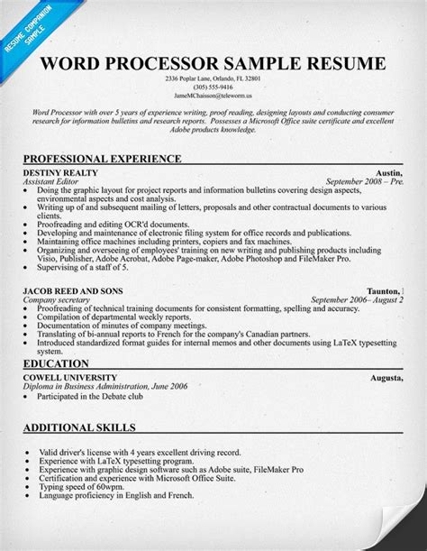 Resume Exles For Word Procesing.html