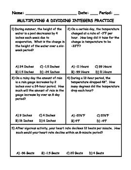 multiplying dividing integers word problem practice spiral review