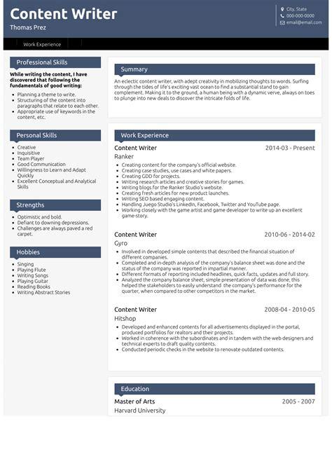 content writer resume sles 1 resource templates skills