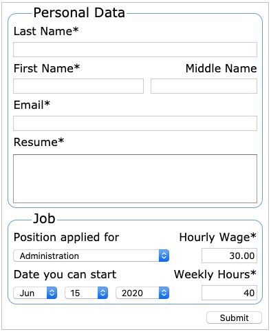 job application sle form responsive 2d layout html