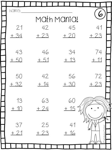 addition subtraction double digit math facts regrouping worksheets