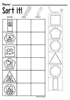 shapes worksheet packet busy work 2d shapes shapes