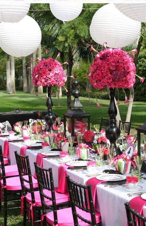 hot pink black outdoor wedding reception wedding reception