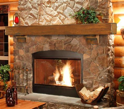 large fireplace mantel shelf rustic pine wood lodge