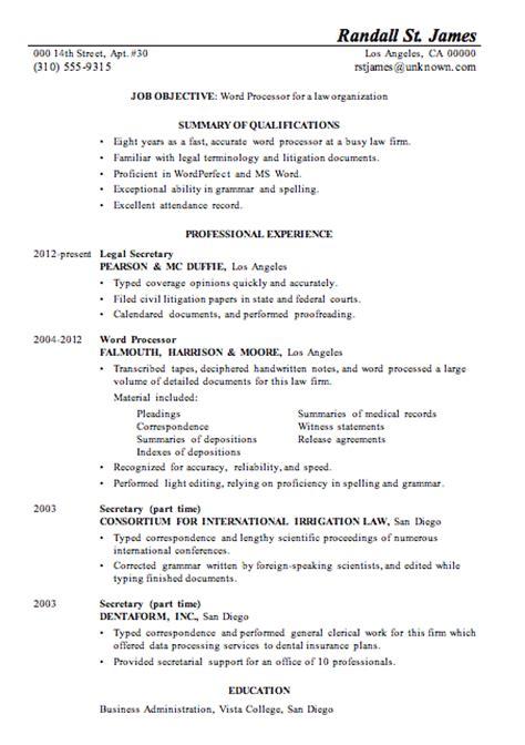 resume sle word processor law firsm
