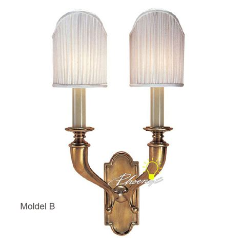 anitque double lights fabric copper wall sconce 8768