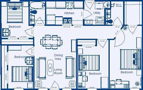 home floor plan 1232 sq ft 4 bedroom