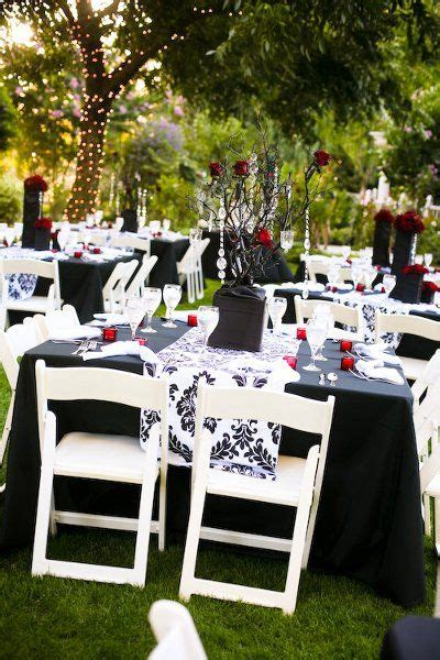 outdoor reception black white red red wedding receptions