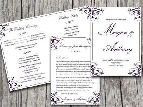 fold wedding program template microsoft word ornate flourish