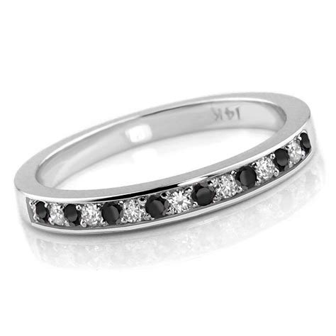 0 24ct alternating black white diamond wedding ring
