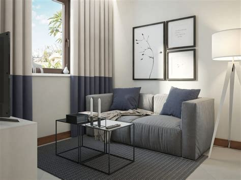 functional scandinavian style apartment white gray blue home
