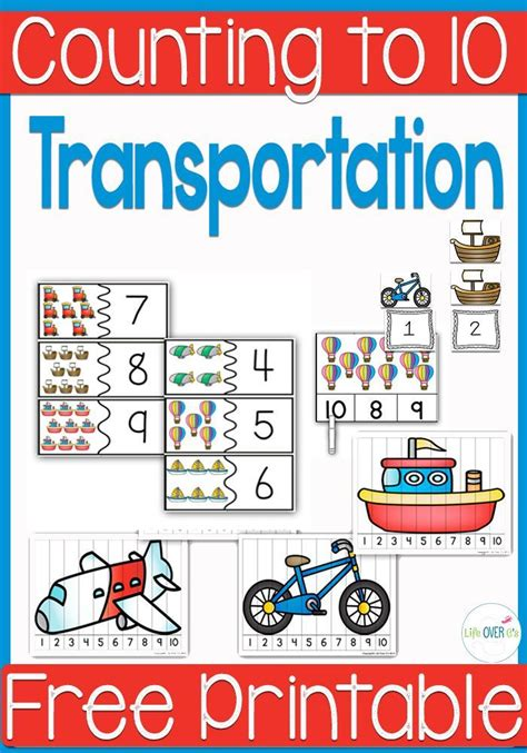 free transportation themed printable counting 10 transportation preschool