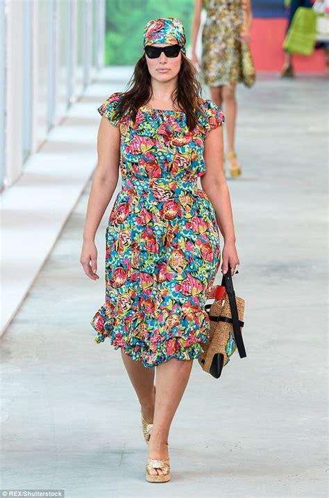 ashley graham unrecognizable floral dress large shades michael