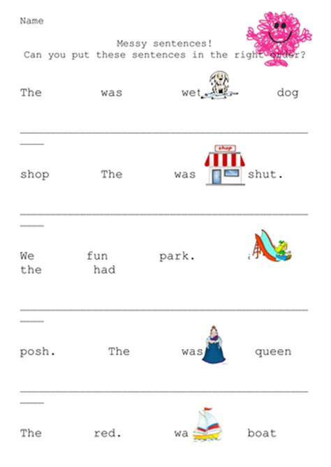 messy sentence structure teaching resources