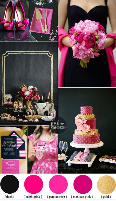 black hot pink wedding colour theme bright pink