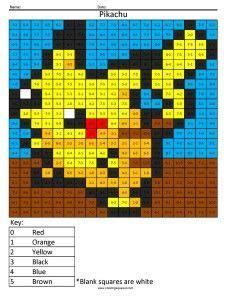 pokemon pikachu basic subtraction pokemon coloring