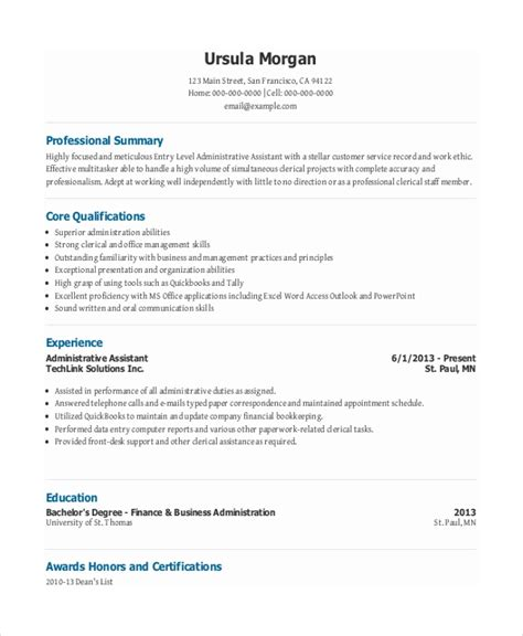 entry level administrative assistant resume 7 free documents