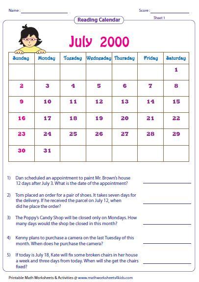 Reading A Calendar Worksheets For 2nd Grade.html