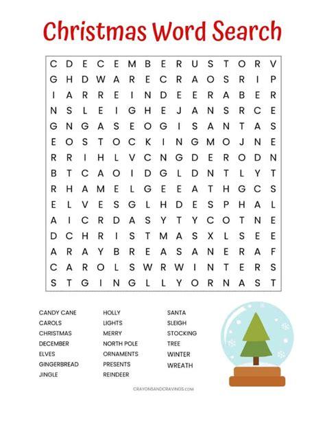 christmas word search free printable kids adults