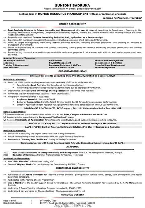 modern mba hr resume sles experienced hr resume