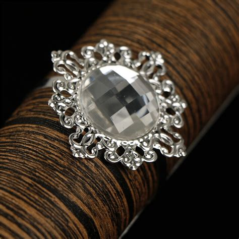 6pcs set wedding acrylic diamond napkin ring table