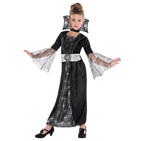 girls black vire ghost halloween fancy dress costume
