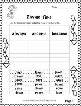 Rhyming Words Activities For 2nd Grade.html
