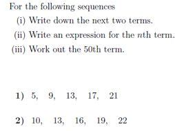 nth term sequence worksheet solutions teaching resources