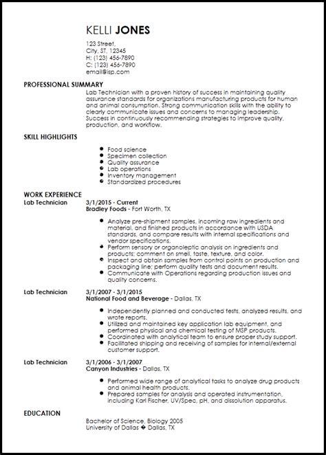 free entry level lab technician resume templates resume