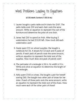common core word problems grade 7 expressions equations