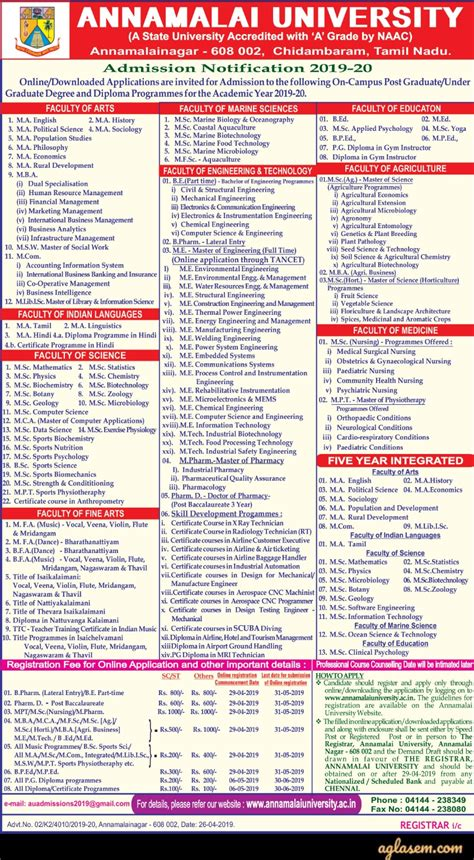 annamalai university ed admission 2019 application form extented