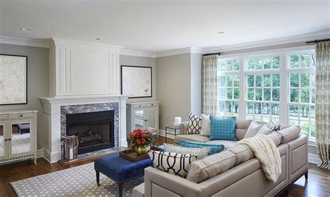 grey blue living room nailhead sectional transitional living