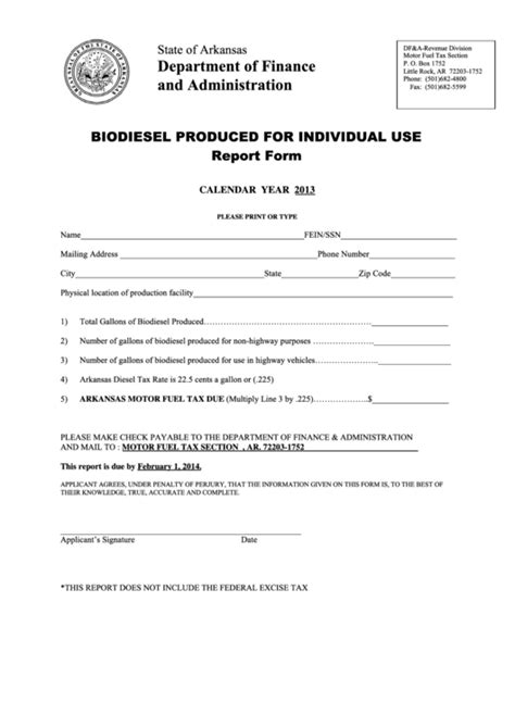 fillable biodiesel produced individual report form arkansas department