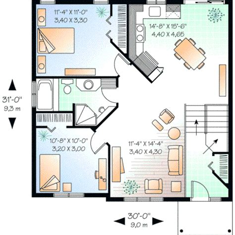 traditional house plan 2 bedrooms 1 bath 923