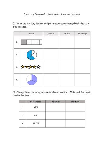 converting fractions decimals percentages worksheet teaching resources
