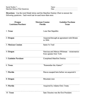 manifest destiny worksheet fill online printable fillable blank
