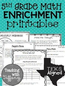 5th grade math enrichment printables teks aligned 5th
