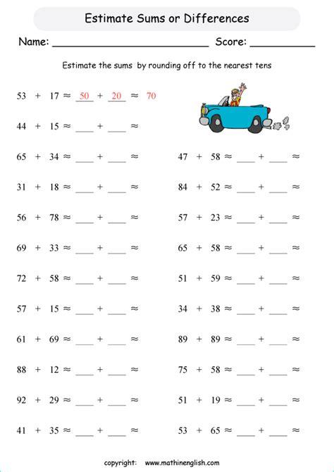 estimate sum 2 2 digit numbers 100 grade