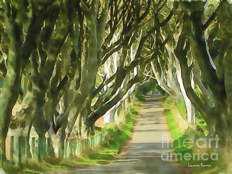 watercolor drawing dark hedges trees northern ireland dark